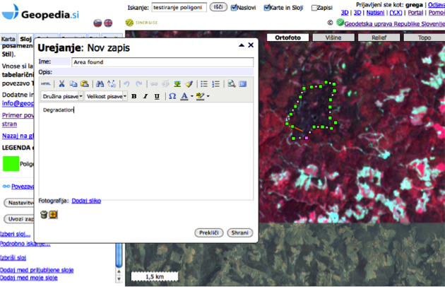 Geopedia.si - editing spatial data