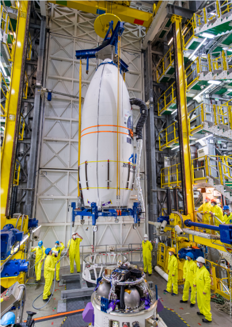 Installation of the fairing with 53 satellites on the upper stage of Vega rocket (AVUM)